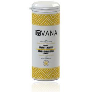 Une poudre lavante mains naturelle dans un saupoudreur plastique 50g marque iovana